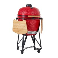Round CeramiC Shape large Cooking area Charcoal BBQ Grill with Cast Iron Stand