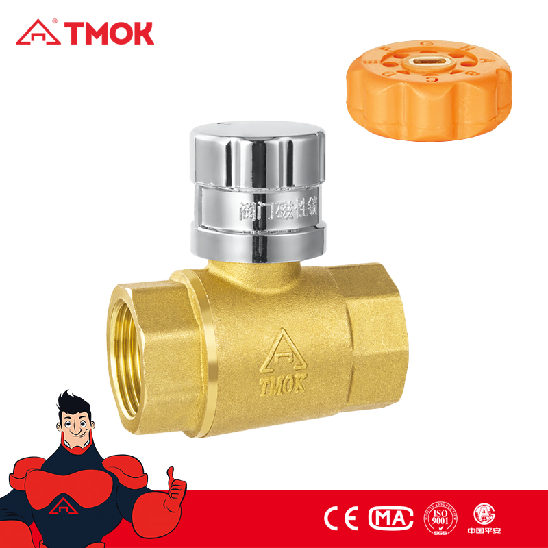 NPT thread brass magnetic ball valve with aluminum lockable male plastic key bonnets forged PN 25 measuring function in oujia