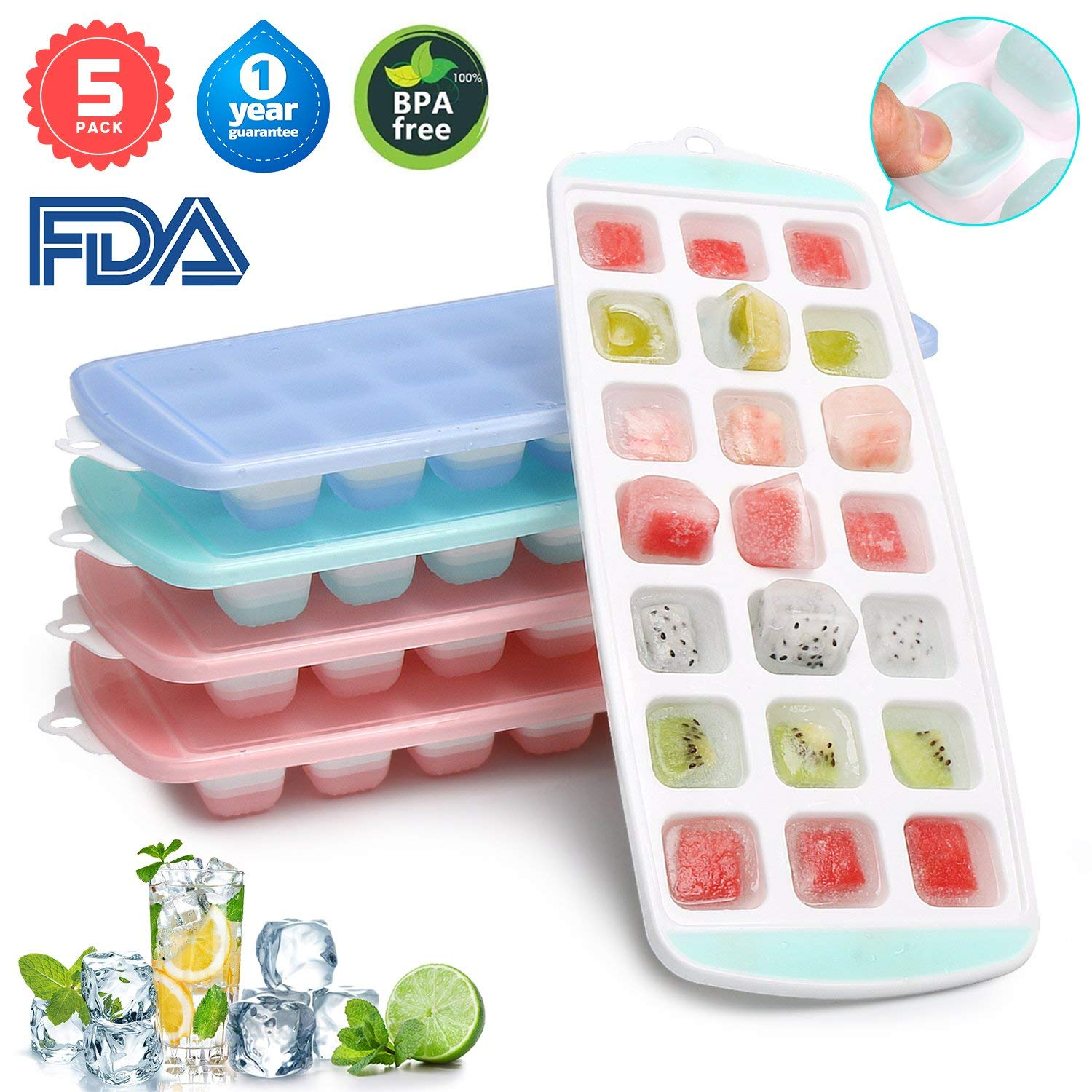 Ice Cube Trays, 5 Packs Food Grade Flexible Silicone Ice Cube Molds Tray with Lids, Easy Release Ice Trays Make 105 Ice Cube, Stackable Dishwasher Safe, BPA Free