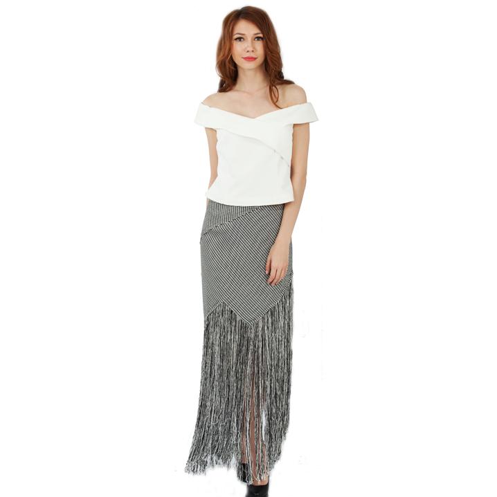 2509f7000e3 Длинные кисточки для костюмы юбка серый и белый в клетку шт. twinset платье  узоры Топ