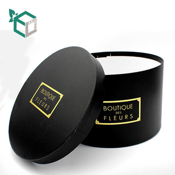 Wholesale Custom Plain Black Luxury Round Hat Box For Flowers With