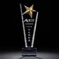 Logo custom metal star crystal glass souvenir trophy award