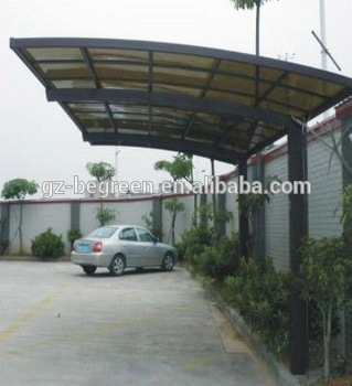 2015 metal steel frame rain shelter villa carport canopy with uv coated and polycarbonate sheet for