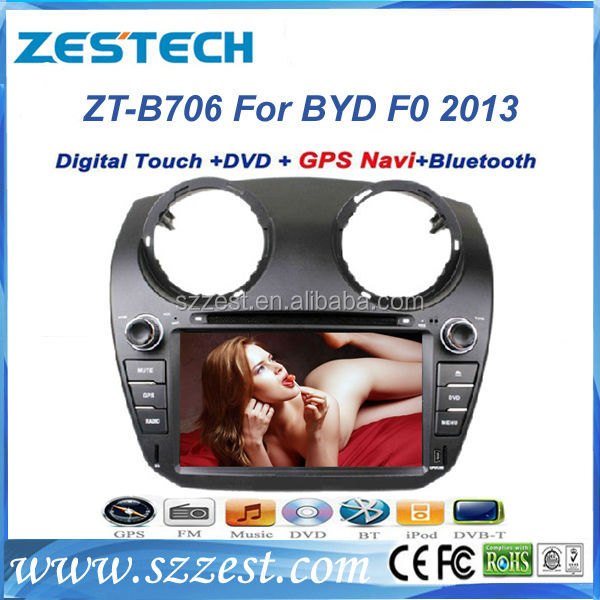 ZESTECH in dash car dvd player gps for BYD F0 2013 car dvd player gps with auto steering wheel