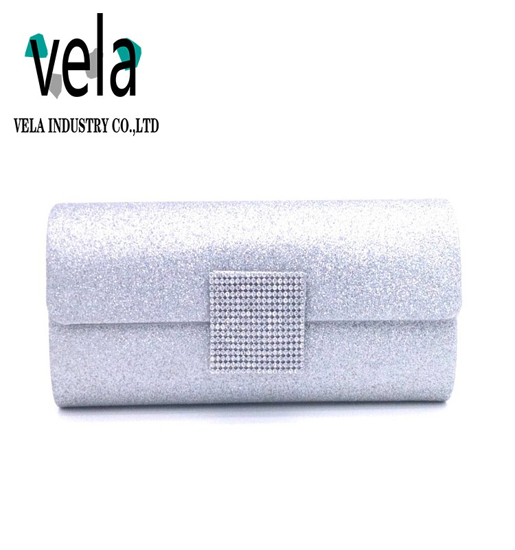 Most Popular Bling Silver Evening Purse Clear Crystal Clutch Bags For Dinner Party