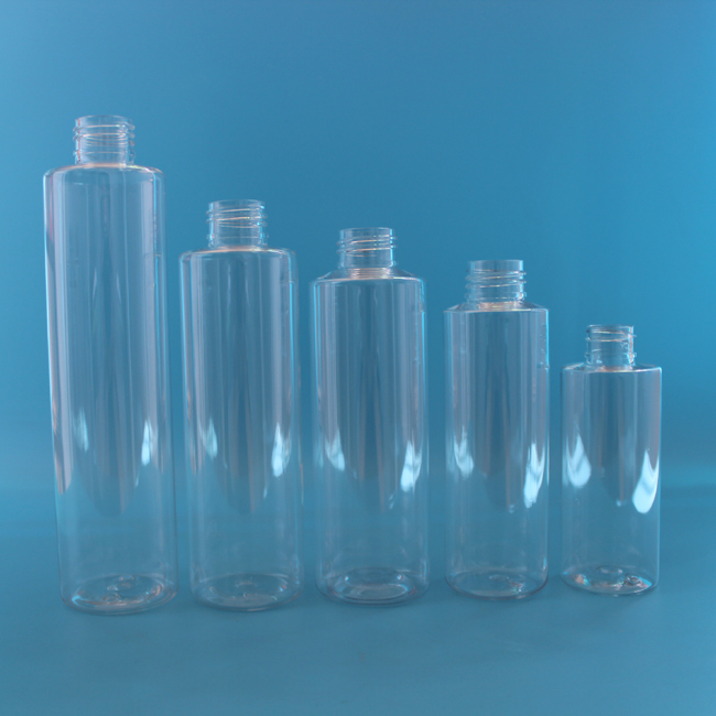 100% pure material 10 ml to 1000ml cosmo cylinder shape pet plastic bottle for cosmetic usage