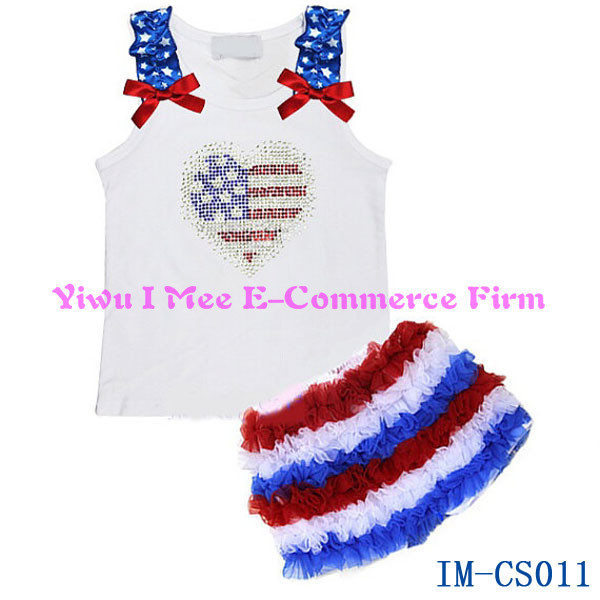 00f89ee87820 Hot Sale Baby Girls Patriotic Rhinestone Flag Ruffle Shorts Set Boutique  Kids 4th of July Outfit IM-CS011