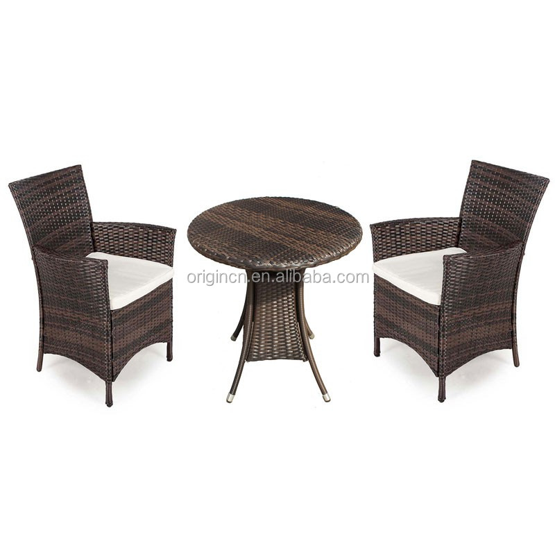 Outdoor style 2 seater tea furniture round bistro table and high back rattan chairs starbucks