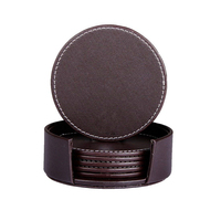 Wine bottle coaster set wholesale leather coaster set