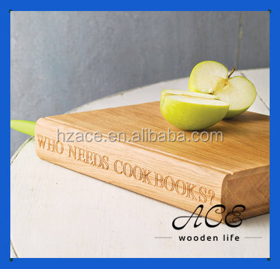 Book Shape Round Edge Wooden Chopping Board Soild Oak Butcher Cutting Board Personal Laser Logo with Knife Holder