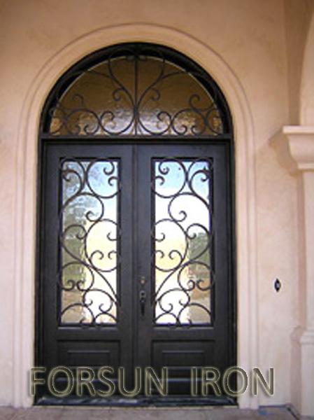 Doppeltür außen  Luxus Schmiedeeisernen Doppeltür Mit Gewölbte Heck Für Villa/außen ...