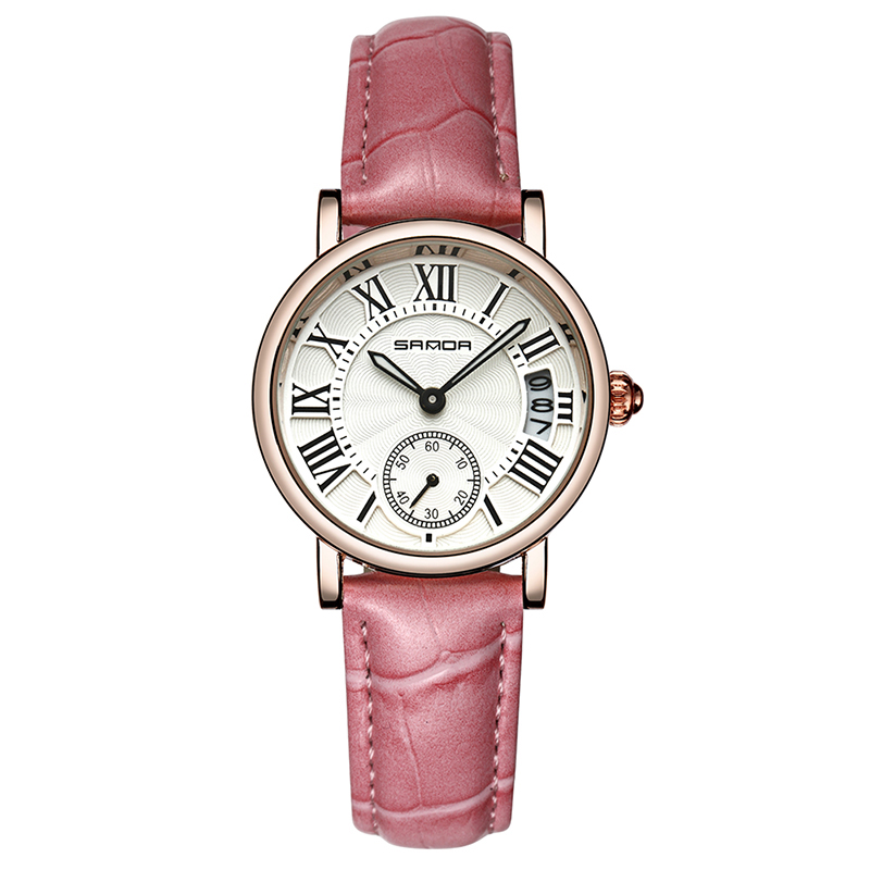 WJ-7559 Original Leisure Cost-effective Roman Numerals Classic Dial Cheap High Quality Women Leather Watch With <strong>Date</strong>