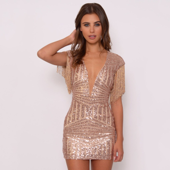 Rose Gold Sequin And Fringe Mini Dress New Ladies Dress - Buy New ...