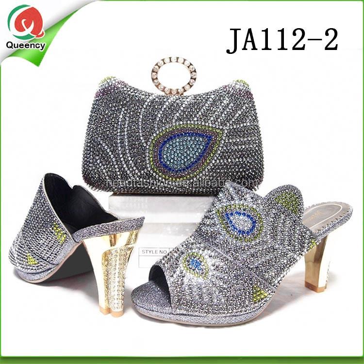 28384cfa2 JA112 Queency Elegant High Quality Ankara Fashion Women Leather High Heel  Italian Matching Shoes and Clutch Bags