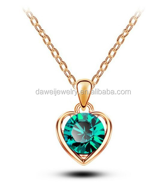 Wholesale Crystal Heart Shape pendant Necklace gold plated long chain necklace