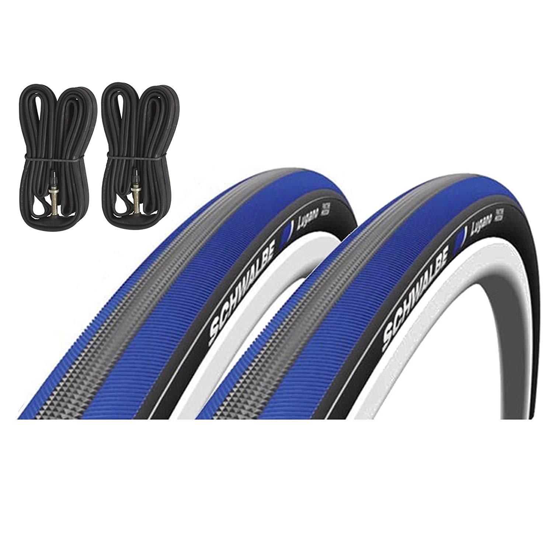 Schwalbe Lugano 700c x 23 Road Racing Bike Tyres & Presta Inner Tubes - Blue (Pair)