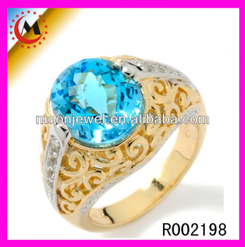 2014 new turkish wedding gold ring with high end blue diamond design women ring in alibaba