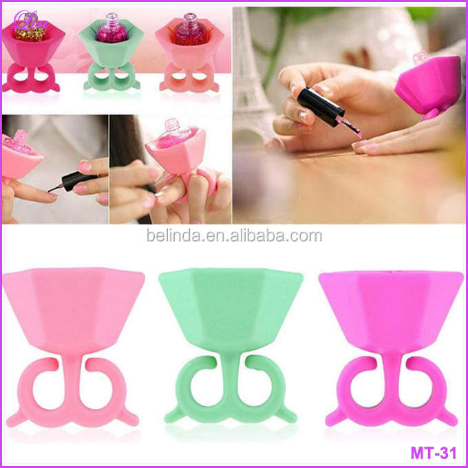 Manicure set Flexible Wearable Silicone Support Rack Ring Fit All Fingers Nail Art Manicure Tools