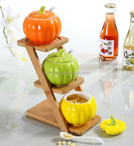 wholesale porcelain ceramic seasoning holder with pumpkin design