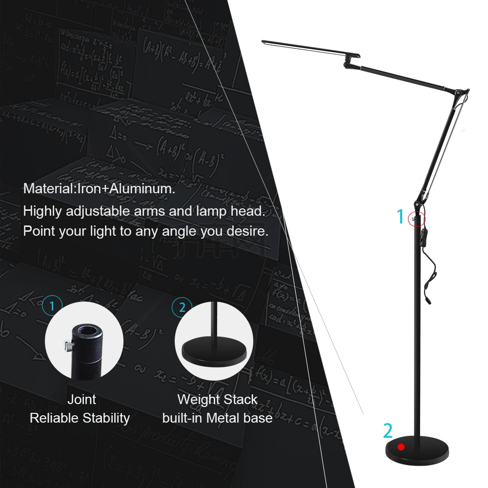 New product ideas 2018 led floor lamp with swing arm for living room or office