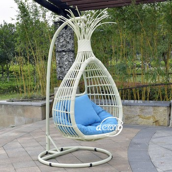 New Design Outdoor Onion Shape Rattan Garden Jhula Swing Chair For