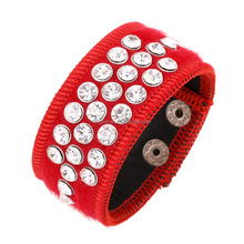 Latest fashion design press button clasp full crystal bangle red pu leather bangle wholesale