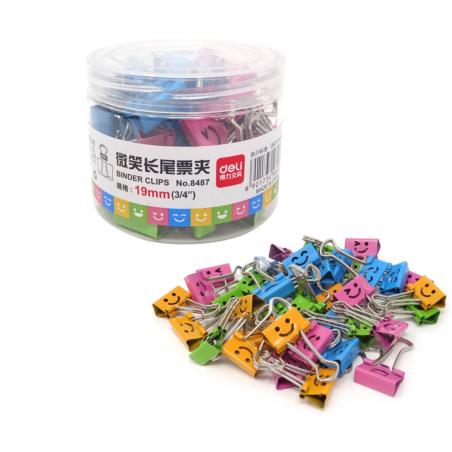 Honbay 40PCS 19mm 3/4inch Wide Lovely Small Size Smiling Style Metal Binder Clips Paper Clips Clamps with a Plastic Box