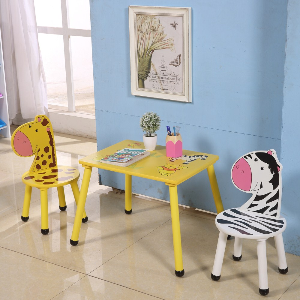 wooden study table and chair set for kids preschool children