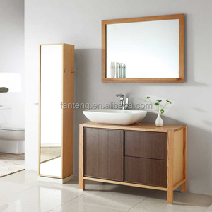 Whole sale wood vanity bathroom with side mirror cabinets bathroom furniture