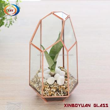 Copper Indoor Flower Pots Clear Glass Terrarium Planter Buy Indoor