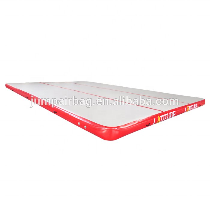 Inflatable air track gymnastic tumbling mat with free pump