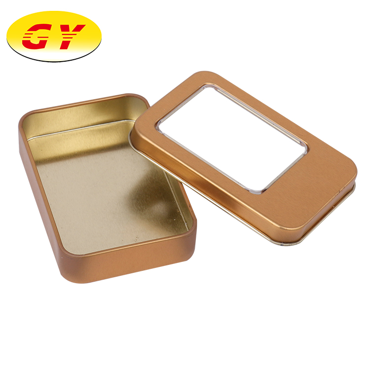 On-hand inventory gold color rectangle standard sizes empty tin cans
