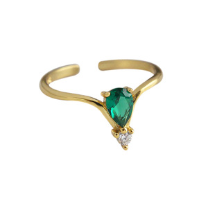 925 silver 18k gold plated emerald green CZ diamond ring