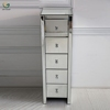 Venetian Mirrored 5 Drawer Silver Tall Boy Chest Narrow Tall Storage Cabinet