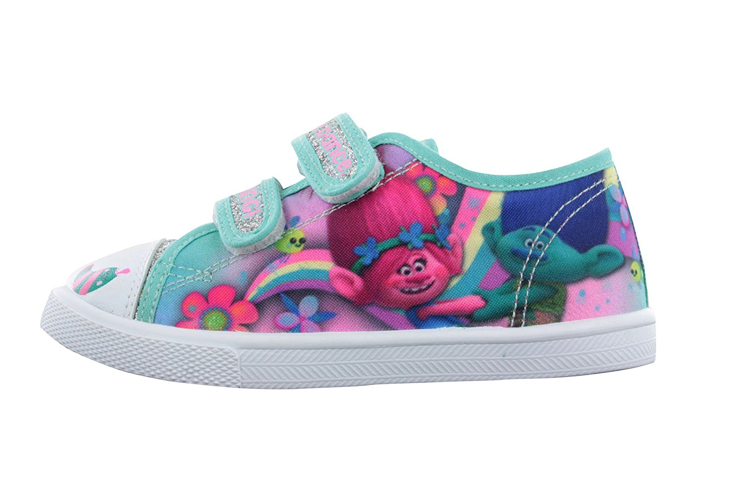 7bcd134fba24 Get Quotations · Trolls Girls Green Pink Silver Glitter Canvas Trainers  Sport Shoes UK Sizes 6-12