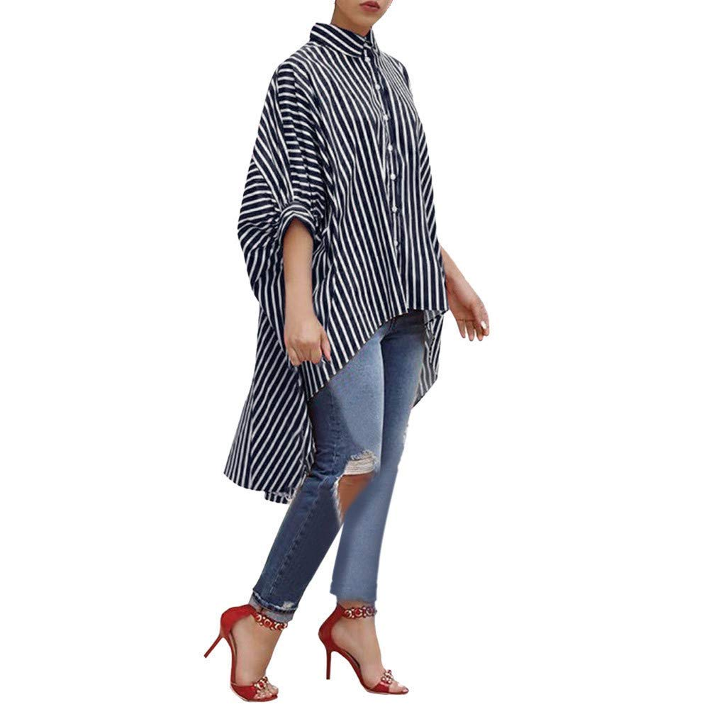 Joint Clearance Women Cotton Striped Three Quarter Sleeve Shirt Casual Loose Blouse Button Tops Autumn T Shirt (XX-Large, Blue)