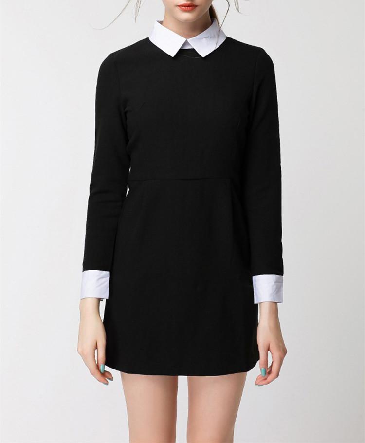 vestito nero con colletto bianco