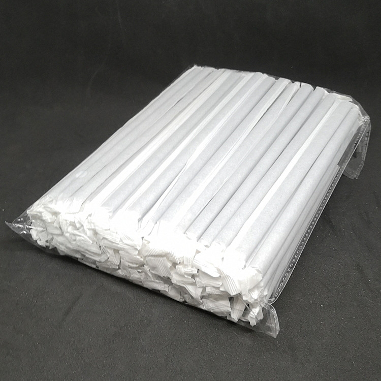 FDA/EU Certificate Biodegradable 197*8MM Black Solid Plain Color disposable degradable Paper Straw Wrapped Packaging
