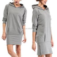 Latest Design Clothing Online Shopping Long Sleeve Slim Fit Bodycon Mini Hoodie Dress Blank Trendy Gray Sweatshirt Dress