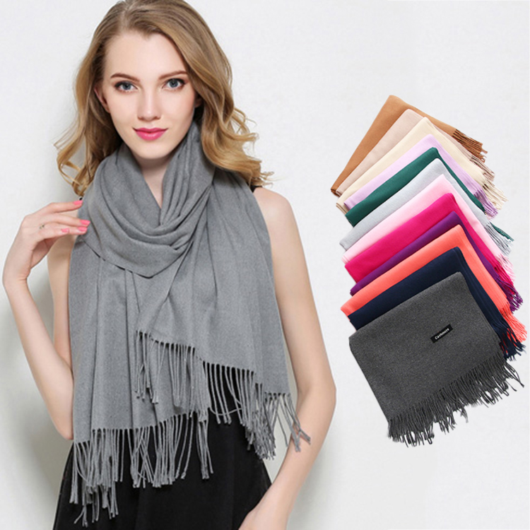 Hot Sale Wholesale Multicolor Women Winter Warm Long Shawl Cashmere <strong>Scarf</strong> With Tassel