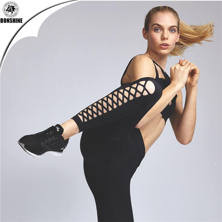 2017 Women new quick dry fitness yoga clothes tight hollow <strong>sports</strong> running pants