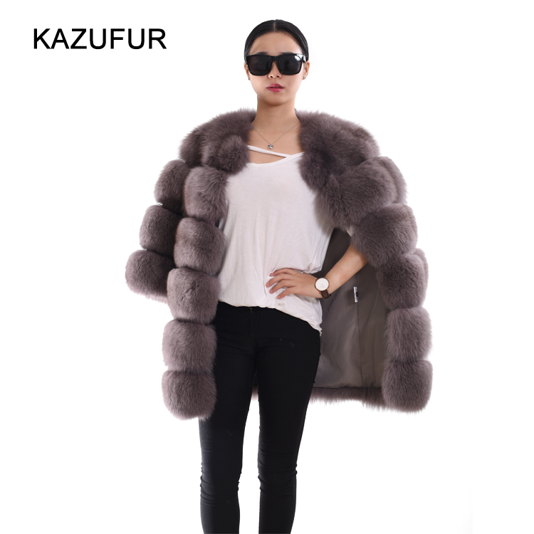 Russian style real whole fox fur coat for women winter warm thick fox coat fashion KZ160102