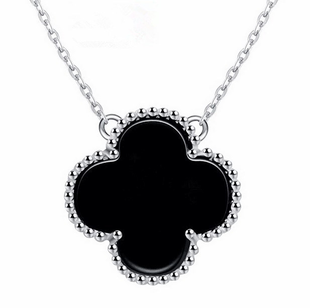 ATHENAA Women 925 Sterling Silver Black Agate Clover Necklace Inlay Cubic Zirconia Pendant