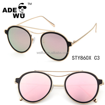 ADE WU 2017 newest round metal frame ocean lenses china alibaba women wholesale sunglasses