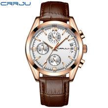 Relogio Masculino CRRJU мужские часы Топ бренд класса люкс водонепроницаемые 24 часа дата Кварцевые часы мужские кожаные спортивные наручные часы(Китай)