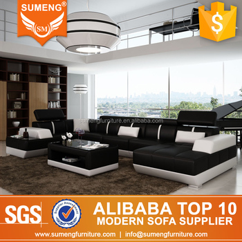 Italian Royal Style Furniture High Back Wooden Leather Sectional