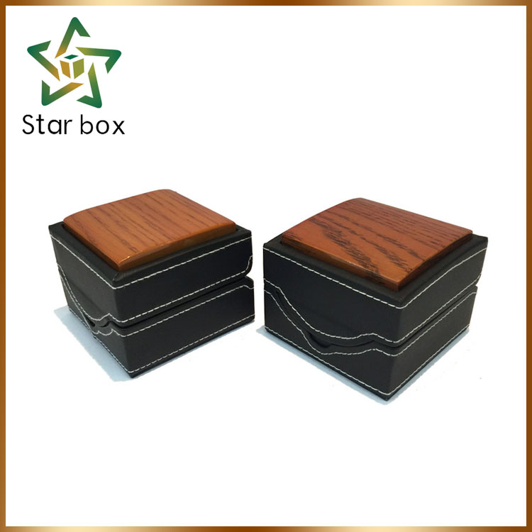 Wholesale online matt PU leather wooden jewelry ring box