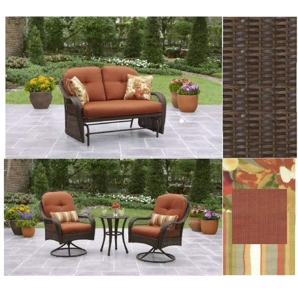Two-Seater Glider With Cushions & 2 Pack Pillows And 3-Piece Bistro Set, Azalea Ridge Collection, Better Homes & Gardens Outdoor Furniture Set, Burnt Orange, Weave Style, All Weather, Heavy Duty