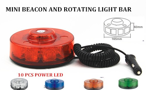 12-24V PC lens 10f Functions Car security Led Strobe Mini Beacon Lightbar with magnetic with plug