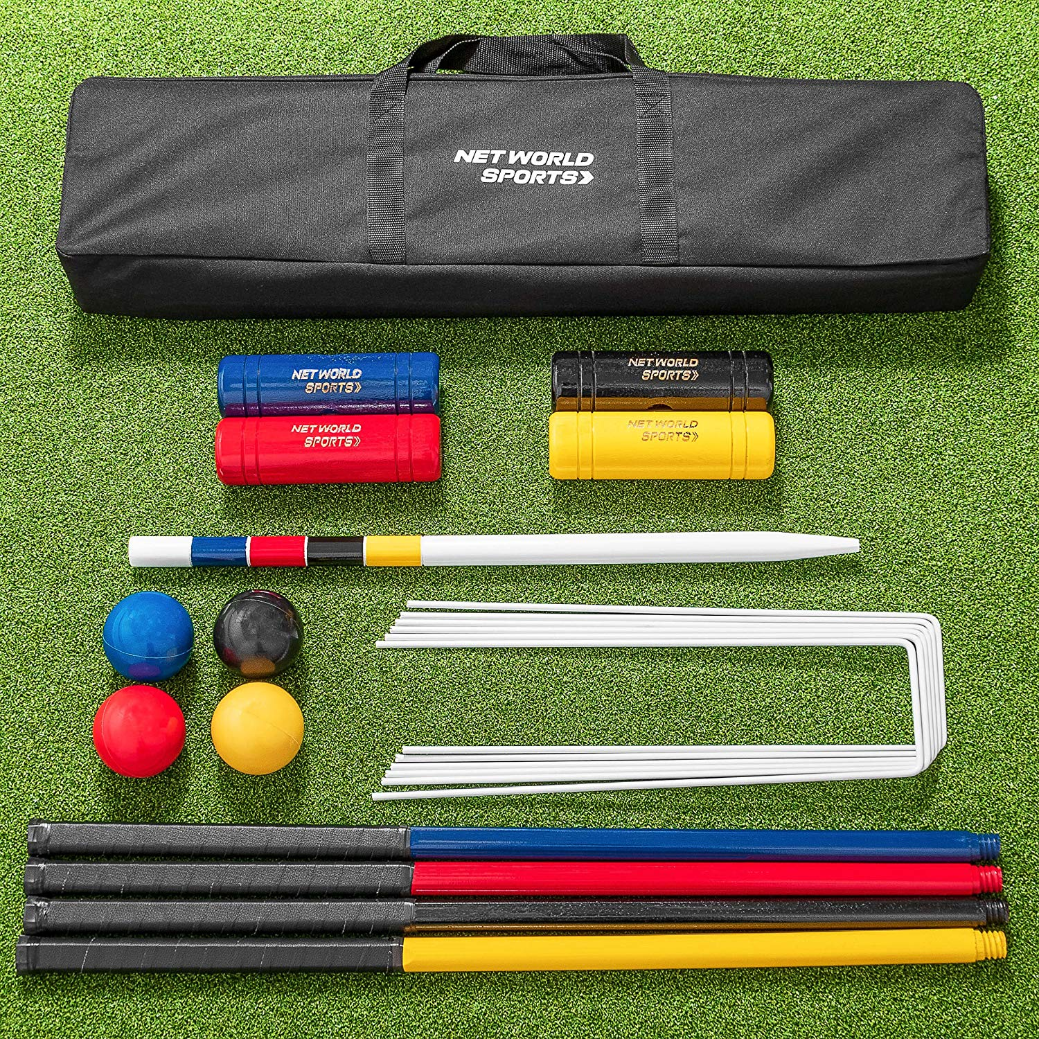 Get Quotations Net World Sports Complete 4 Person Croquet Set Full Size Wooden Lawn Traditional